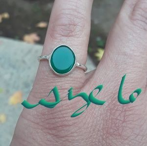 Green Chalcedony and Silver Ring
